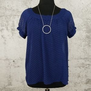 DKNY JEANS Sheer SWISS Dot Top Blue XL